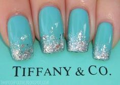 tiffany blue and silver nails