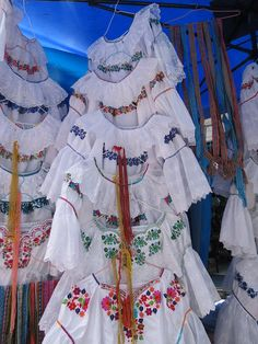 Traditional clothes for sales in Quito, Ecuador. I have a few of these. Very beautiful and handmade.