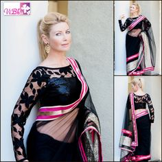Black is always elgeant. It is the most complete color in the whole world, made of all the other colors in the palette!! Gorgeous black net saree with stylish full sleeve laced blouse!! For inquiries/orders mail to vinaya.gv@gmail.com or call at 408-666-0070