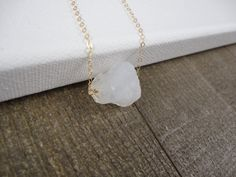 14k gold filled rough raw crystal bead necklace / by AlohaXO