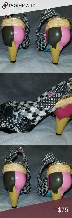 IRREGULAR CHOICE *ICE CREAM CONE* Heels Sz 9.5 Excellent condition Irregular Choice ice cream cone heels in a size 9.5. Check out the detailing!  Check out my other listings! I love to give discounts for bundles!!!  From a smoke free home. Irregular Choice Shoes Heels