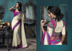 white & pink color combination Brasso material saree with fabulous pink embroidered blouse piece & multi color broad border patta
