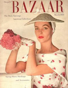 Georgia Hamilton in white silk surah dress printed with delicate pink flowers, matching straw hat and gloves, by Hattie Carnegie, cover photo by Louise Dahl-Wolfe, March 1953 this fuckin dress