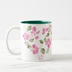 Pretty Florals Two-Tone Coffee Mug - home gifts ideas decor special unique custom individual customized individualized