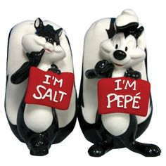 Looney Tunes Pepe Le Pew and Penelope Salt and Pepper Shakers Set: Westland Giftware Looney Tunes Magnetic Pepe Le Pew and Penelope Salt and Pepper Shaker Set, This set features classic Looney Tunes characters. Pepe Le Pew, Salt N Pepa, Westland Giftware, Salt And Pepper Set, Salt Pepper Shakers, Looney Tunes, Tea Pots, Spices, Stuffed Peppers