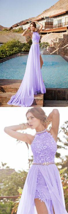 Lilac lace high neck long evening dresses