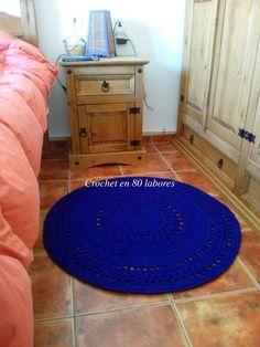 Crochet en 80 labores: Patrón fácil para una alfombra de trapillo muy vis...