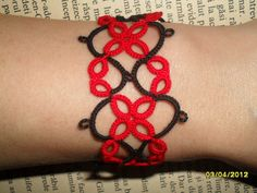 Handmade tatted bracelet in red and black by carmentatting on Etsy, $18.00