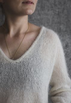 The Cumulus Blouse is worked from the top down in stockinette stitch with two strands of thin mohair/silk yarn held together throughout. All edges are finished with i-cord. Mohair Sweater, Wool Sweaters, Wardrobe Planner, Ravelry, Budget Planer, I Cord, V Stitch, Knitting Patterns, Knit Crochet