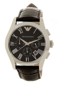 Men's Valente Chronograph Leather Strap Watch