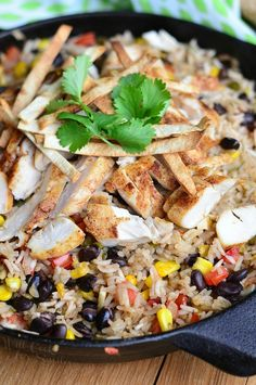 Chicken Tortilla Rice Skillet | from willcookforsmiles.com