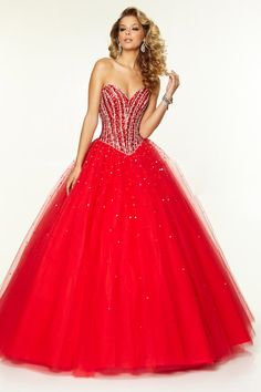 2015 Quinceanera Dresses Sweetheart Floor-Length Tulle Ball Gown Lace Up Red USD 199.99 EPPR7CY6T6 - ElleProm.com