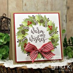 I love this thick, plush wreath by Sheri Gilson ! She used the Holiday Wreath Builder to create this gorgeous card! Homemade Christmas Cards, Christmas Cards To Make, Xmas Cards, Homemade Cards, Holiday Cards, Christmas Crafts, Christmas Yarn, Christmas Note, Handmade Christmas