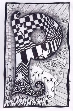 Zentangle Letter P Zebra Letters name bunting by ForeverTangles, Michael's comment: P is for powdered donut! Non-gluten, of course! Doodle Art Name, Doodle Alphabet, Doodle Art Letters, Doodle Art Journals, Doodle Lettering, Letter Art, Alphabet Images, Doodles Zentangles, Tangle Doodle