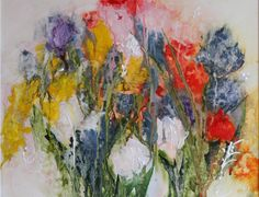 MY GARDEN #2 - watercolor & fabric paint - by Lee Quincy