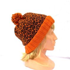 Knitted wool beanie knit double hat orange by peonijahandmadeshop