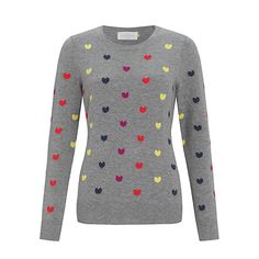 Buy Collection WEEKEND by John Lewis Mini Heart Sweater, Grey/Multi Online at johnlewis.com
