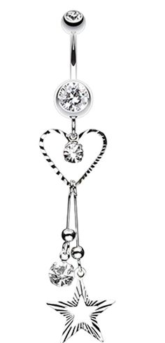 Heart & Star Sparkle Belly Button Ring