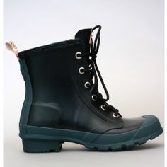 """Hunter """"Brixen"""" Wellies - These look like Paladium boots - but for the rain. Genius! Color: Black, Blue-Grey sole."""
