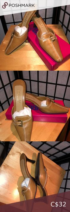 """Brown Mules by Amanda 9M Cute Brown heeled Mules by Amanda from D. Myers & Sons Inc. New in original Box, Heel 2 3/4"""" Colour: Camel Style: Run Away SZ: 9 M Man made Material POSH#26 Amanda Shoes Mules & Clogs Brown Heels, Black Leather Heels, Leather Clogs, Leather Slip Ons, Black Suede, Mule Sandals, Mules Shoes, Heeled Mules, Orange Leather Jacket"""
