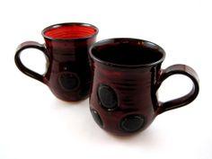 Ladybug mug, large ceramic mug, Pottery mug, red polka dots mug - In stock