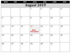 Kalender Frei August 2019 Mit Feiertagen Kalender August, Words, Ascension Day, Holiday, Horse