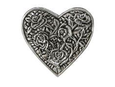 2 Metal Buttons Rose Heart 1 inch  24 mm  Shank by ButtonJones, $4.00