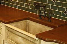 Notice the raised faucet deck, one of many custom options available