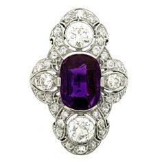 Antique Natural Unenhanced amethyst and diamond ring by Dreicer & Co | From a unique collection of vintage cluster rings at https://www.1stdibs.com/jewelry/rings/cluster-rings/