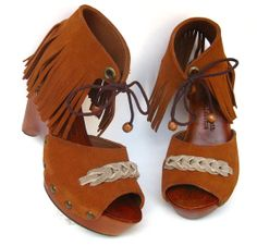 SALE Fringe Clog Shoe in Rust Brown Suede with Grey by karenkell, $165.00