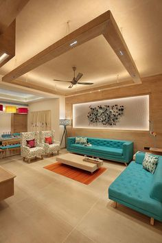 Design by ACE Associates. Click to see the full home. #livingroomsofaideasdreamhomes Living Room Partition Design, Ceiling Design Living Room, Home Room Design, Living Room Interior, Home Interior Design, Living Room Designs, House Ceiling Design, Indian Home Interior, Home Ceiling