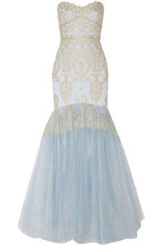 Marchesa NotteMetallic lace-appliquéd tulle gown