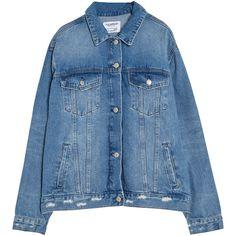 Oversized denim jacket ($32) ❤ liked on Polyvore featuring outerwear, jackets, jean jacket, denim jacket, oversized jacket, blue jean jacket and blue jackets