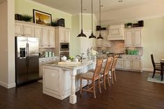 Villas of Colleyville - traditional - kitchen - dallas - K. Hovnanian Homes Glazed Kitchen Cabinets, Decorating Above Kitchen Cabinets, Above Cabinets, Kitchen Cabinet Design, Flooring For Stairs, Staining Cabinets, Traditional Kitchen, Model Homes, Home Kitchens