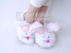 Crochet fluffy bunny slippers pattern, toddler shoes with rope soles, crochet shoes for kids 1 yo- 10 yo, cord soles pattern included