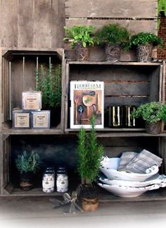 Using crates for outdoor shelving. DIY Shelves for Terraces and Backyards Diy Wooden Crate, Wooden Crates, Wooden Boxes, Diy Jardin, Old Crates, Wine Crates, Store Displays, Garden Inspiration, Diy Design