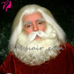 e2fb28adf80 ZMhair customer show yak hair lace front santa wig and beard set + lace  mustache +