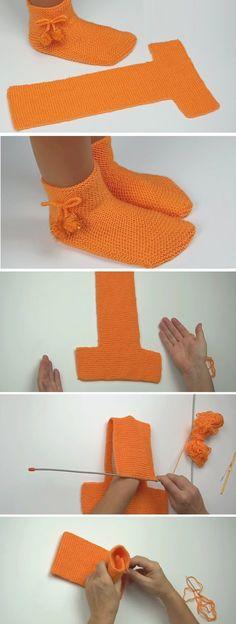Easy to fold slippers - crochet / knitting instructions - Design Peak . - Easy-to-fold slippers – crochet / knitting instructions – Design Peak – knitting and crocheti - Knitting Designs, Knitting Patterns Free, Free Knitting, Knitting Projects, Crochet Patterns, Sewing Projects, Sewing Tips, Easy Projects, Blanket Patterns