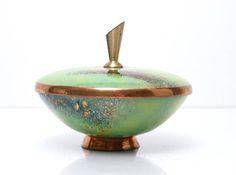 Vintage East German Copper Enamel Footed Lidded Box / Bowl