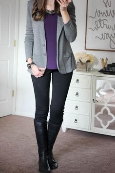 I love this whole outfit! Purple is my favorite color and the blazer and pants look professional yet comfortable
