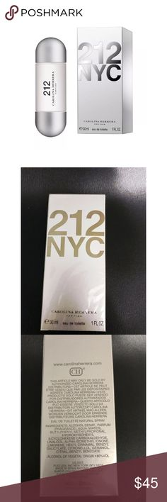 212 NYC By Carolina Herrera 30ml Women Perfume EDT 212 NYC CAROLINA HERRERA NEW YORK NEW SEALED BOX 30ML/1 FL OZ EAU DE TOILETTE ORIGINAL FRAGRANCE  212 CAROLINA HERRERA is an intensely rich feminine fragrance infused with gardenia, white lily, and sandalwood. Bursting with accents of camellia, bergamot, and musk to provoke the senses. Combine 212 CAROLINA HERRERA with the shower gel, body lotion, and deodorant for an enriching fragrance! 212 CAROLINA HERRERA is recommended for daytime use…