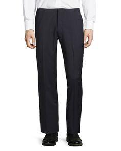N1LLZ Neiman Marcus Classic-Fit Flat-Front Wool-Blend Pants, Navy
