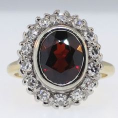 Fantastic Art Deco Garnet and Diamond Halo Cocktail Ring 14k/Plat | Antique and Estate Jewelry | SOLD: 10/30/14 Jewelry Finds Price: $950.00