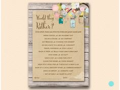 Rustic Would they rather bridal shower game by MagicalPrintable