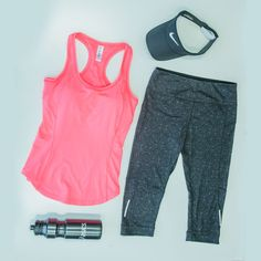 Ready for your weekend workout? Our coral sports bra and printed shaping crop tight will make you look and feel your best