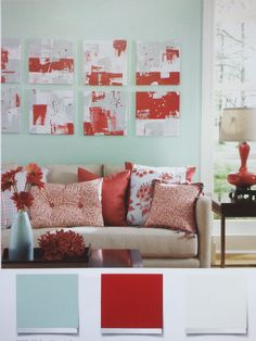 light teal and red