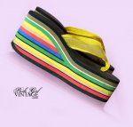 Rainbow platform slippers