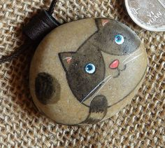Cat Kitty Hand Painted Pebble Stone by RockPaperScissors111, $19.99