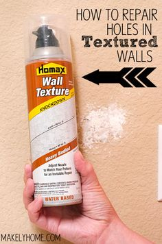 How to Repair Holes in Textured Drywall (DAPtex Plus Foam Sealant DAPtex Plus Foam Sealant, Homax Wall Texture Spray) Informations About How to Repair Textured Drywall Pin You can easily use my profil Home Renovation, Home Remodeling, Home Improvement Projects, Home Projects, Just In Case, Just For You, Drywall Repair, Fixing Drywall Holes, Patching Holes In Walls
