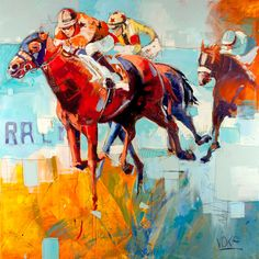 Curated by World's Antiques, this modern painting by Russian artist Valentine Zenkovsky is rendered in colorful oil paints in contrasting cool and warm tones that seem to recreate the same kinetic energy felt on a real racetrack. Horse Mural, Horse Art, Abstract Portrait, Portrait Art, Colorful Paintings, Animal Paintings, Voka Art, Kunsthistorisches Museum, Museum Of Fine Arts